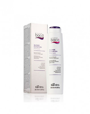 Шампунь дающий блеск волосам и тонирующий седые волосы Kaaral Baco color collection-blonde elevation shampoo 300мл: фото