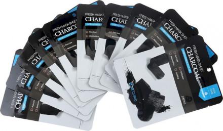 Набор Тканевых масок для лица УГОЛЬ 3W CLINIC Fresh charcoal Mask Sheet 10 шт: фото