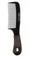 Расческа-гребень прорезиненной ручкой Titania 20,5см черная: фото